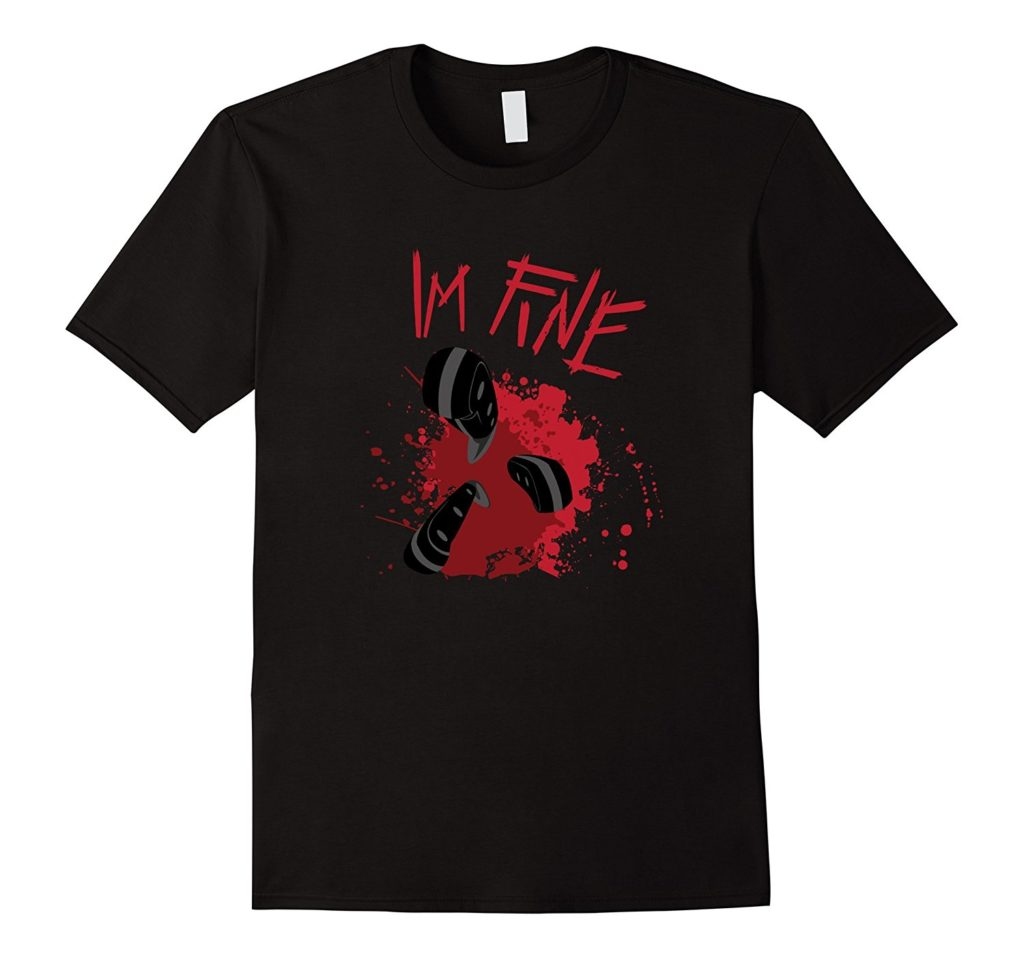 I'm Fine Fake stab wound tee shirt for Halloween
