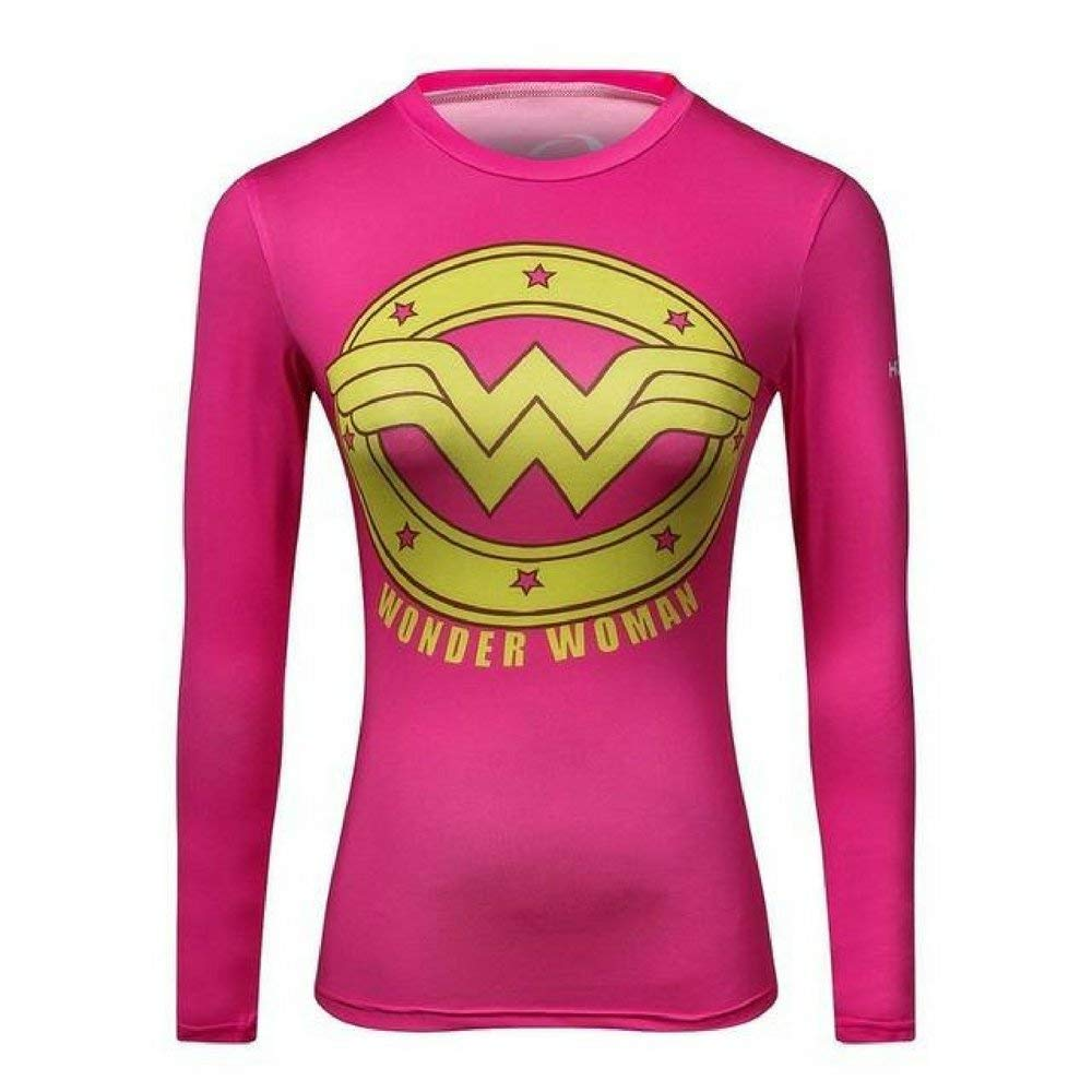 Pink Wonder Woman Long Sleeve Compression Tee Shirt