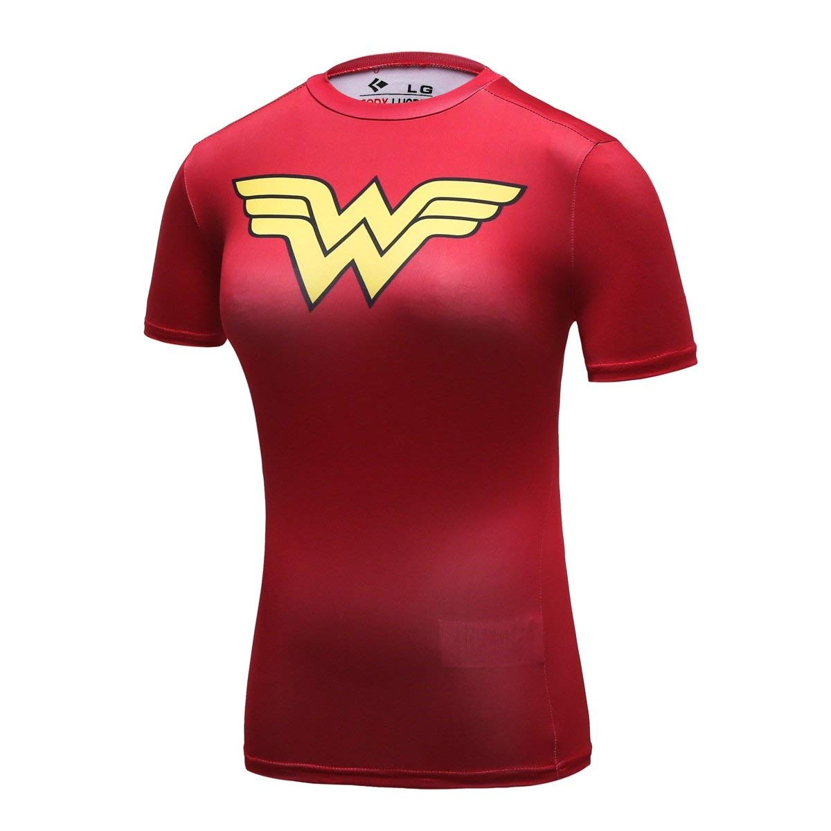 Wonder Woman Logo Red compression tee shirt - front side