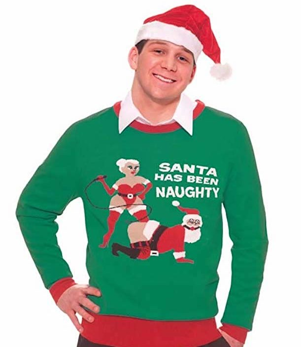 Inappropriate Christmas Sweater with BDSM Santa and Mrs Claus
