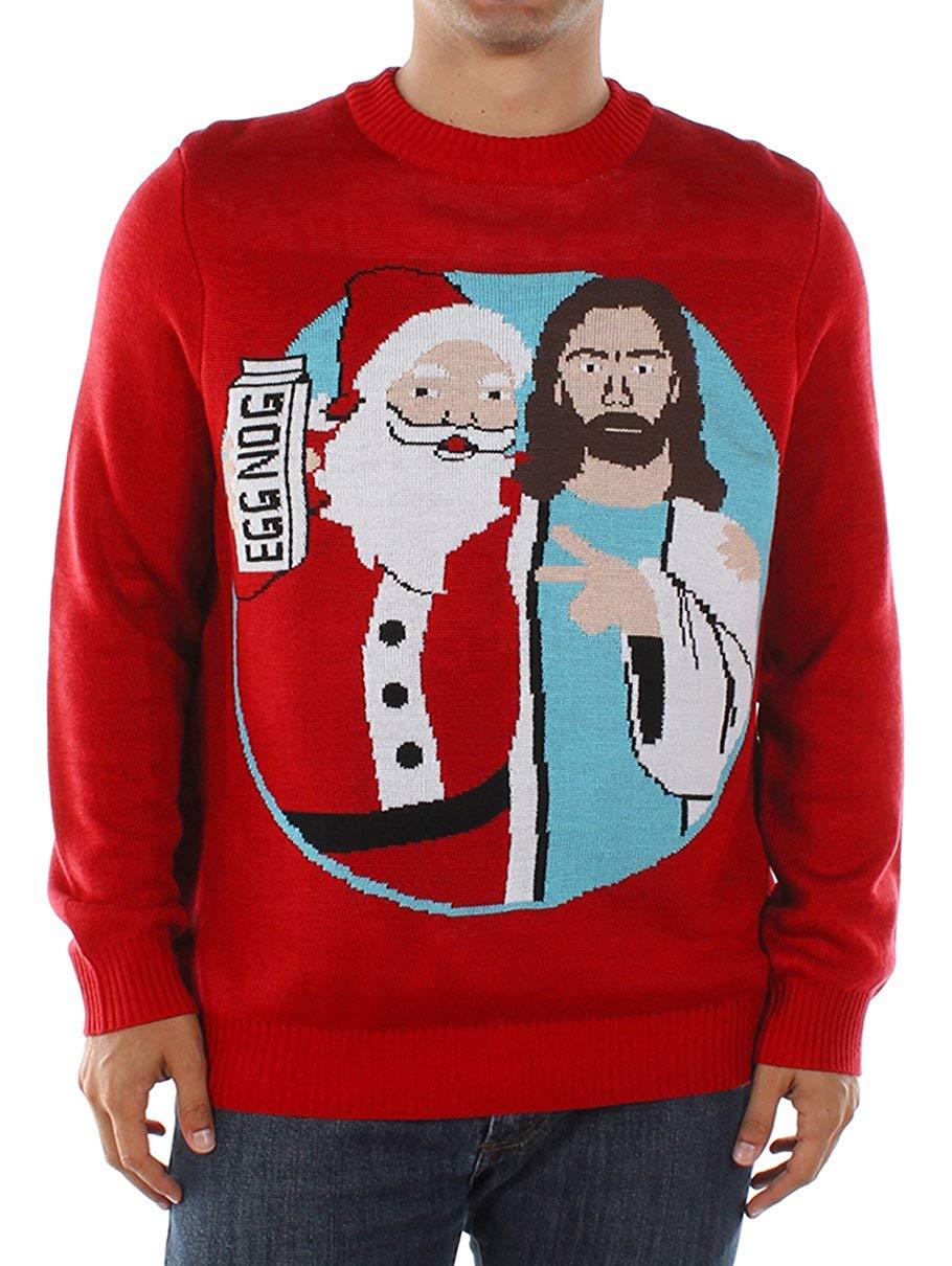 Funny Santa and Jesus Jingle Bros Christmas Sweater