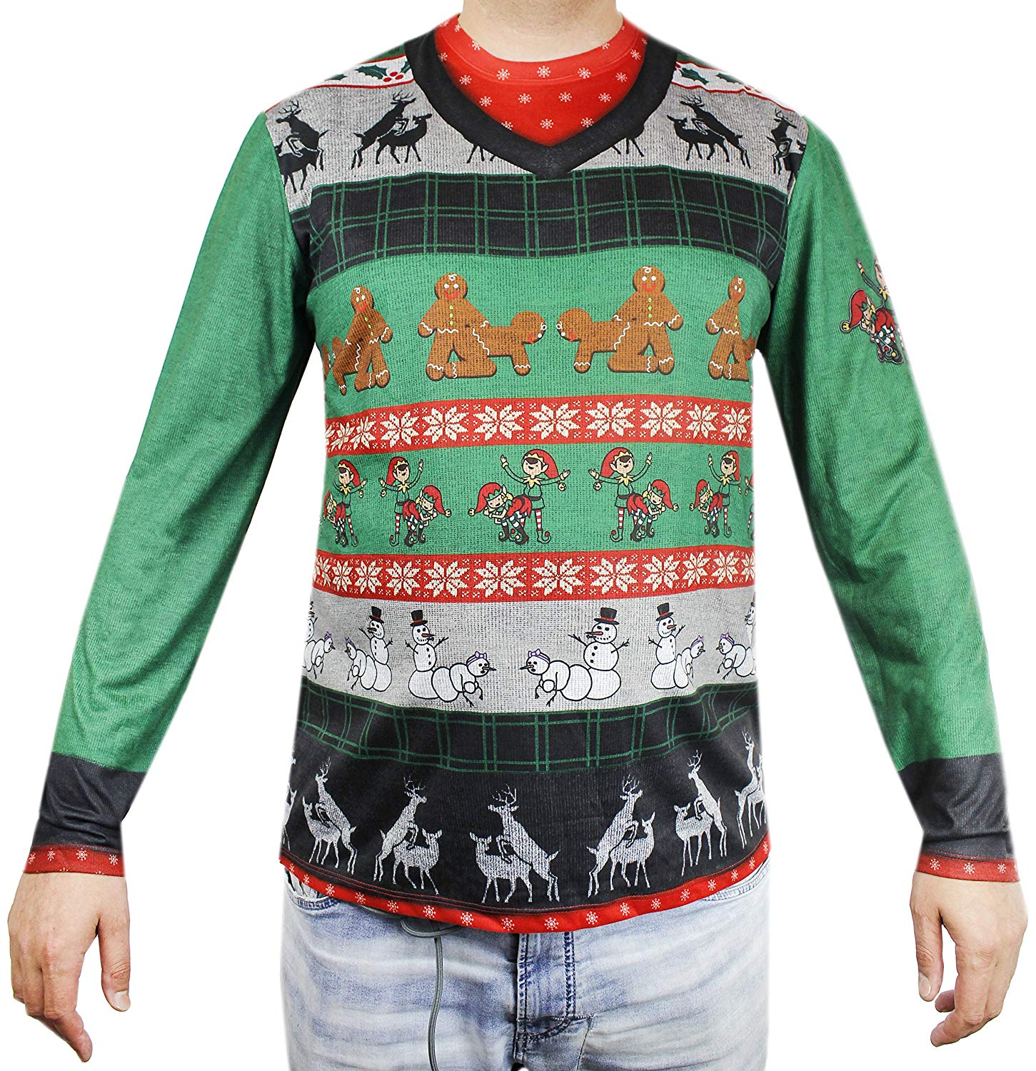 Dirty Christmas sweater with doggy style elves, gingerbread men, snowmen, and reindeer