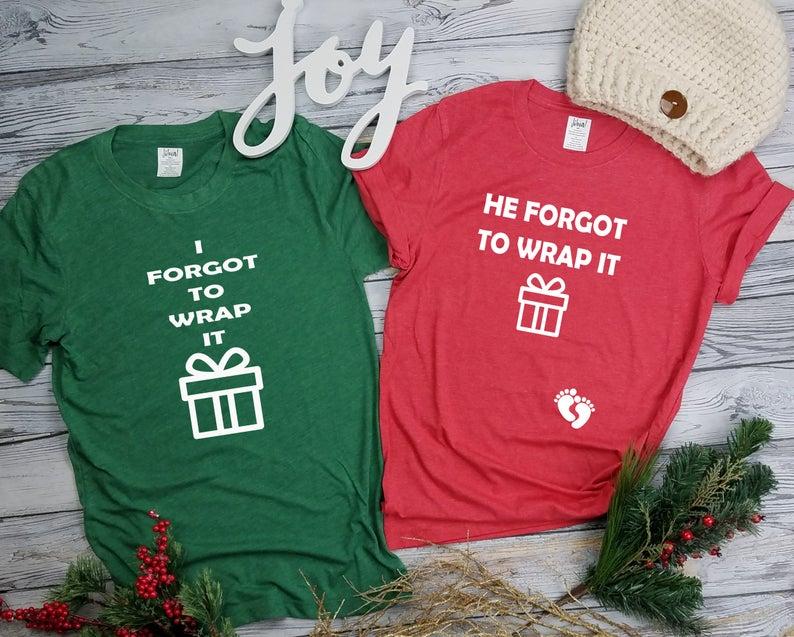 matching couples christmas pregnant shirts