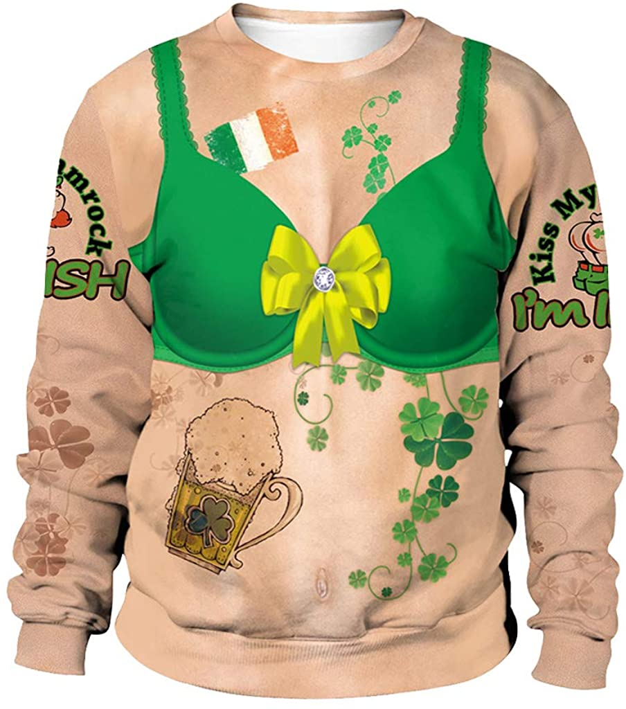 Ugly Christmas Sweater for St Patricks Day w/Bra